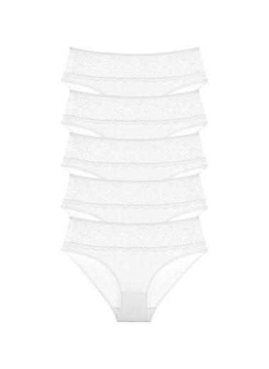 Donella 5'li Beyaz Dantelli Yüksek Bel Kadın Külot Beyaz